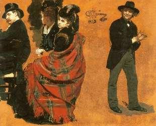 Мужчина и женщина за столиком. Мужчина, натягивающий перчатку — Илья Репин