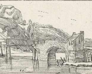 Man driving a donkey towards a bridge — Эсайас ван де Вельде