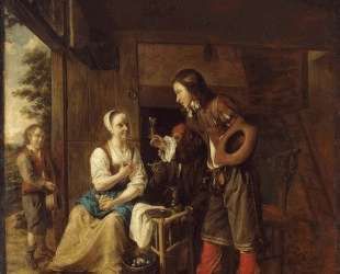 Man Offering a Glass of Wine to a Woman — Питер де Хох