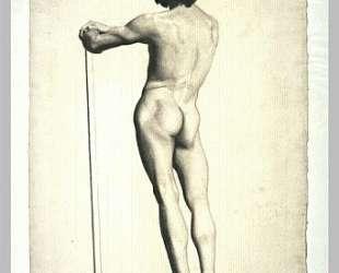 Мужчина стоит, опершись на палку — Жорж Сёра