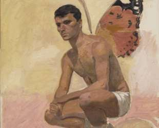 Man with butterfly wings , sitting, study from life — Янис Царухис