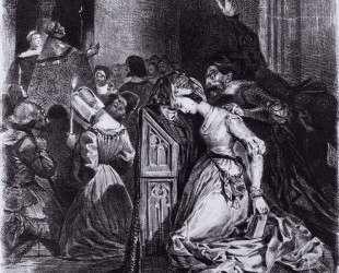 Маргарита, одержимая злым духом в соборе — Эжен Делакруа
