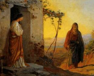 Maria, sister of Lazarus, meets Jesus who is going to their house — Николай Ге
