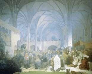 Master Jan Hus Preaching at the Bethlehem Chapel — Альфонс Муха