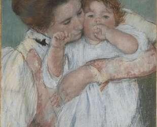 Матильда держит ребенка, тянущегося вправо — Мэри Кассат