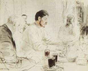 М. Горький читает в Пенатах свою драму Дети солнца — Илья Репин