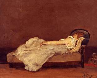 Метте Гоген, спящая на софе — Поль Гоген