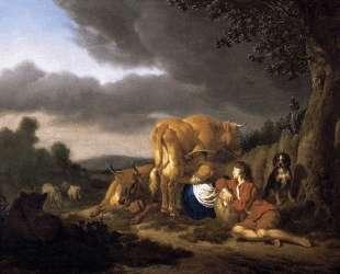 Milking a Cow — Адриан ван де Вельде