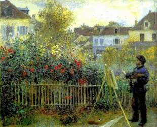 Monet painting in his garden at Argenteuil — Пьер Огюст Ренуар