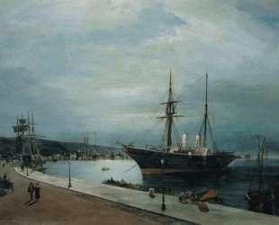 Moonlit harbour of Volos — Константинос Воланакис