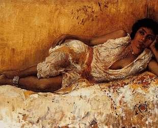 Moorish Girl Lying On A Couch Rabat, Morocco — Эдвин Лорд Уикс