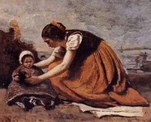 Мать и дитя на берегу — Камиль Коро