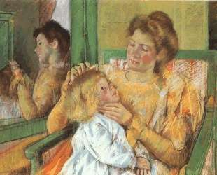 Мать расчесывает ребенку волосы — Мэри Кассат