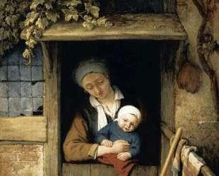 Mother Holding Her Child in a Doorway — Адриан ван Остаде