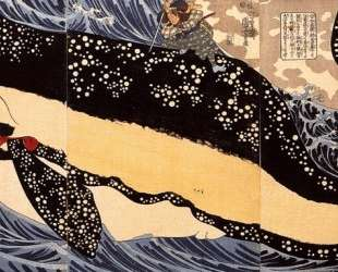 Musashi on the back of a whale — Утагава Куниёси