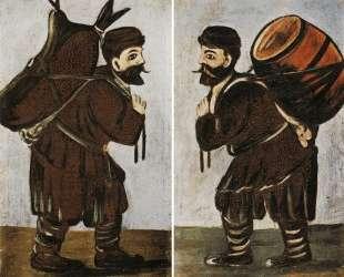 Муша с бурдюком, Муша с бочкой — Нико Пиросмани