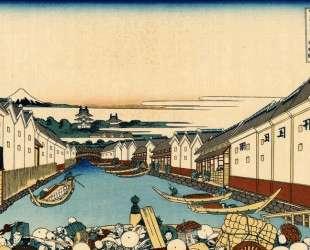Nihonbashi bridge in Edo — Кацусика Хокусай