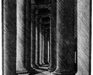 Nocturnal Rome, Colonade of St. Peter's — Мауриц Корнелис Эшер