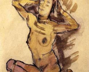 Female nude seated on the ground — Оскар Кокошка