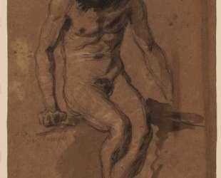 Сидящий обнаженный с бородой — Эжен Делакруа
