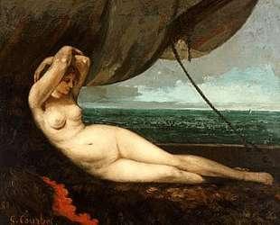 Обнаженная, полулежа у моря — Гюстав Курбе