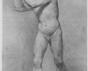 Nude Study of a striding man with stone sling — Аллан Рэмзи