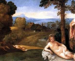 Нимфы и дети в пейзаже с пастухами — Джорджоне