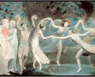 Оберон, Титания и Пак с танцующими феями — Уильям Блейк