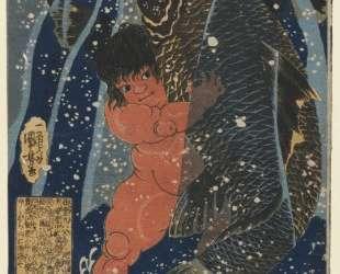 Oniwakamaru and the Giant Carp Fighting Underwater — Утагава Куниёси