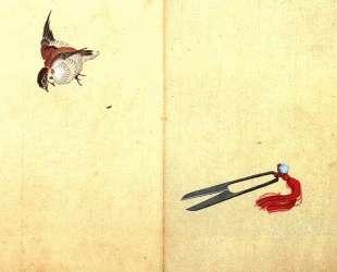 Pair of sissors and sparrow — Кацусика Хокусай