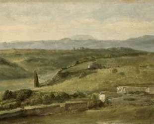 Panoramic Landscape with a Farmhouse — Джордж Фредерик Уоттс
