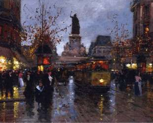 Paris, Place de la Republique at Twighlight — Эдуард Кортес