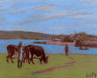 Pasture by the Seine — Альфред Сислей
