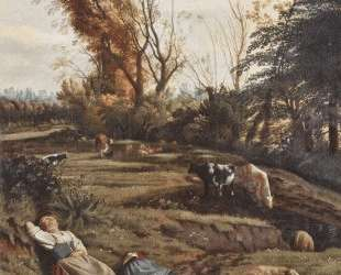Pasture with two sleeping Shepherdesses — Ян Сиберехтс