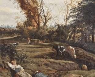 Pasture with two sleeping Shepherdesses — Ян Сиберехтс