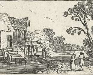 Path along a river with building on stilts — Эсайас ван де Вельде