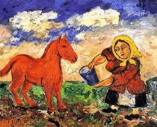 Крестьянка и лошадь — Давид Бурлюк