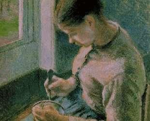 Peasant girl drinking her coffee — Камиль Писсарро
