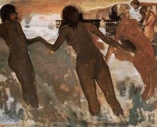 Крестьянки купаются в море в сумерках — Эдгар Дега