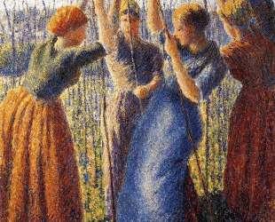 Peasant Women Planting Stakes — Камиль Писсарро