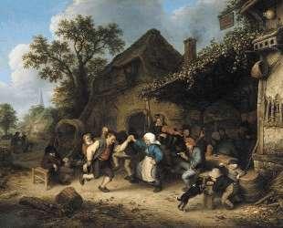 Peasants Carousing and Dancing outside an Inn — Адриан ван Остаде