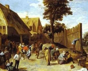 Peasants Dancing Outside an Inn — Давид Тенирс Младший