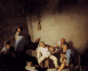 Peasants Drinking and Making Music in a Barn — Адриан ван Остаде