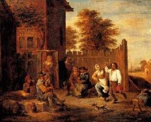 Peasants merrying outside an inn — Давид Тенирс Младший