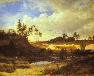 Peasants with a Boat on a Sandy Beach — Фёдор Васильев