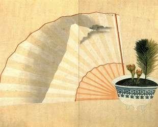 Porcelain pot with open fan — Кацусика Хокусай