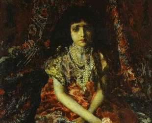 Portrait of a Girl against a Persian Carpet — Михаил Врубель