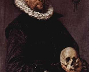 Portrait of a Man Holding a Skull — Франс Халс