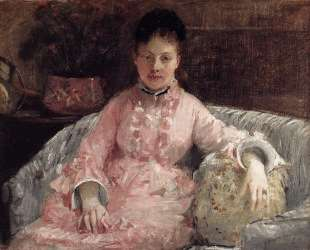 Portrait of a Woman in a pink dress — Берта Моризо