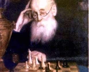 Портрет шахматиста А. Д. Петрова — Григорий Мясоедов